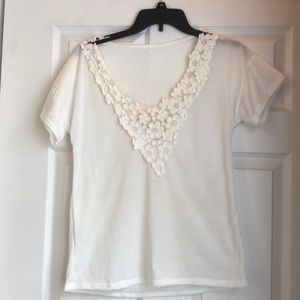 White floral lace v tee